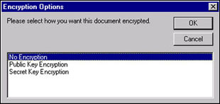 Encryption options dialog box