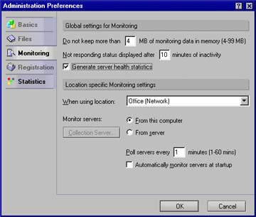 Monitoring tab of Admin Preferences dialog box