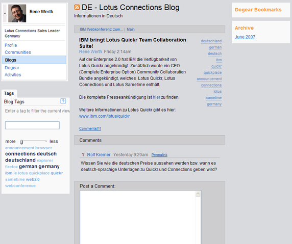 Users can easily comment on blog posts