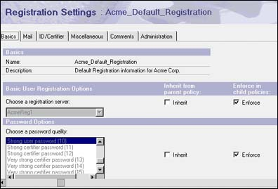 Registration Settings for Acme_Default_Registration