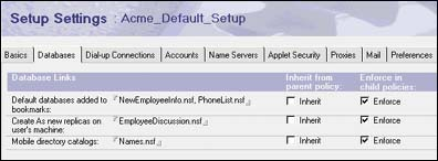 Setup Settings for Acme_Default_Setup