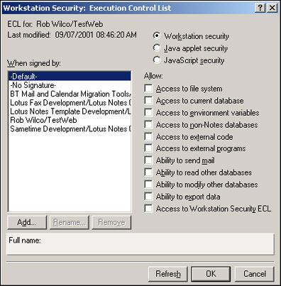 Workstation Security: ECL dialog box